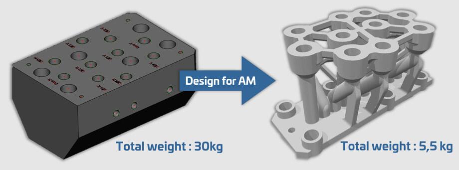 通過3D打印及重新設計,減輕了零件80%重量