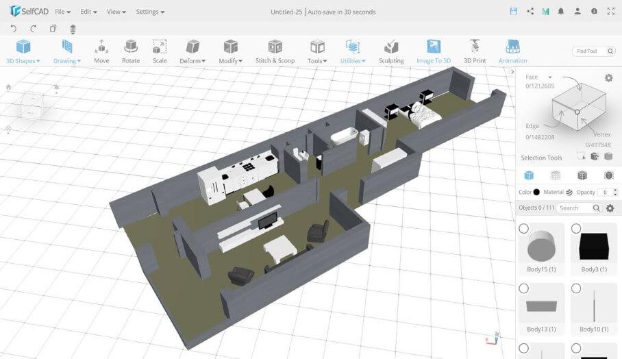 SelfCAD 3D建模軟件多年來一直在進行實體建模,這個基於雲端瀏覽器的3D建模應用程時添加新功能。他們已經從基本的3D形狀建模器發展到包含豐富內容的CAD軟件。 SelfCAD 3D建模軟件一些亮點包括增加了動畫,精確的3D草圖,捕捉工具,添加頂點/邊緣/邊緣循環以及許多其他更新如雕刻筆刷