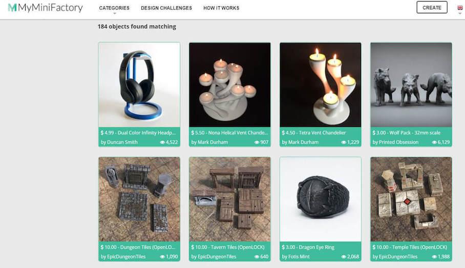 3D模型分享平台MyMiniFactory有3D模型商店了!