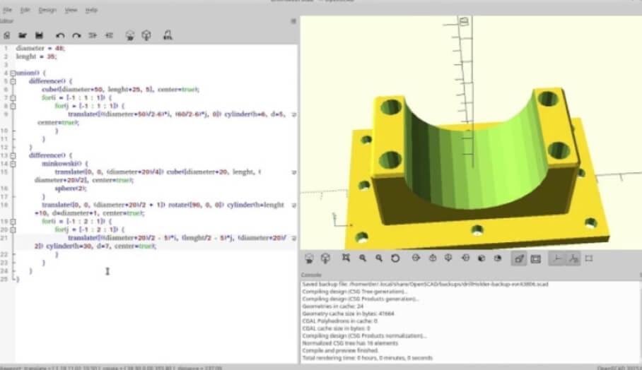 運用算式來繪製3D打印模型的OpenSCAD 3D建模軟件?