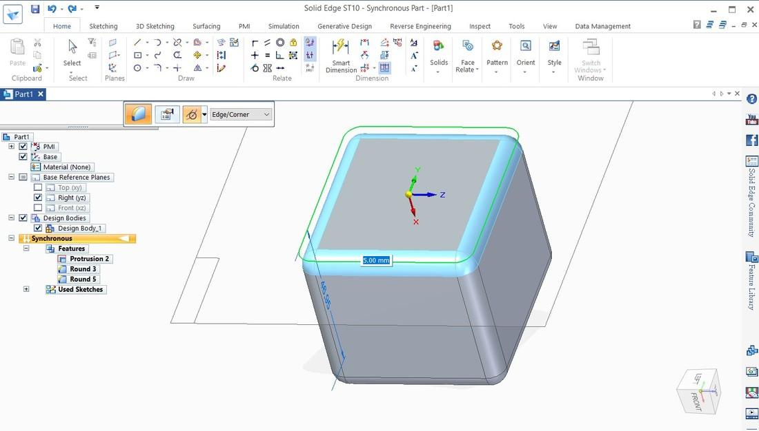 在Solid Edge 中怎樣在模型上加上圓角呢?