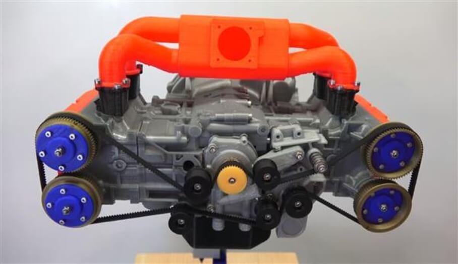 超精緻會驅動的3D打印汽車引擎