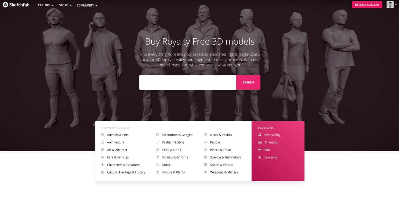 3D模型分享平台Sketchfab正式啟用在線商店模式